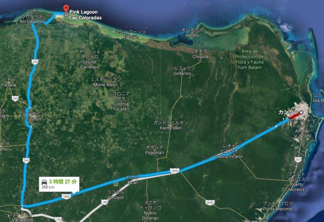 ピンクレイクまでの地図